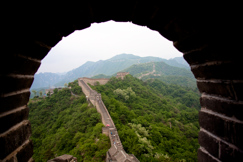 Under cover at the Great Wall of China
